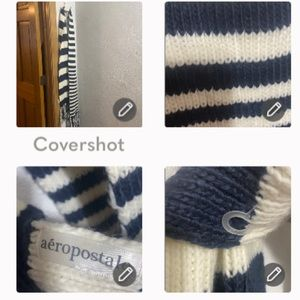 NEW Aero Navy Blue&White stripped Scarf 6'10""